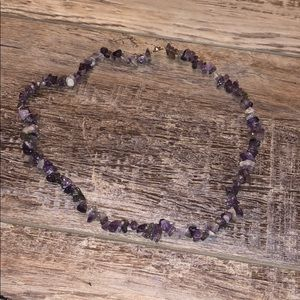 "20"" Amethyst Chip Necklace with Button Clasp"